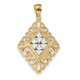Diamond -cut Diamond Shape in Filigree Pendant 14k Gold & Rhodium MPN: K5955