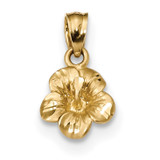 Hibiscus Flower Pendant 14k Gold Satin Diamond-cut MPN: K5973
