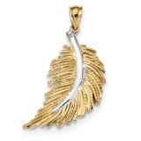 Polished Feather Pendant 14k White Gold & Rhodium MPN: K5974
