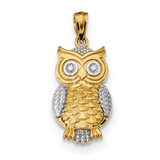 Textured Owl Pendant 14k & Rhodium Polished MPN: K5978