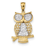 Diamond -cut Polished Moveable Owl Pendant 14k Gold & Rhodium MPN: K5979