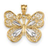 Polished Filigree Butterfly Pendant 14k White Gold & Rhodium MPN: K5984