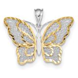 White Polished Filigree Butterfly Pendant 14k Gold & Rhodium MPN: K5987