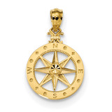 Compass Pendant 14k Gold Diamond-cut Polished MPN: K6095