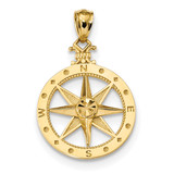 Compass Pendant 14k Gold Diamond-cut Polished MPN: K6096
