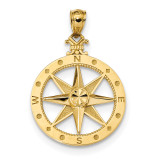 Satin Compass Pendant 14k Gold Diamond-cut Polished MPN: K6097