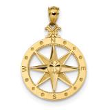 Satin Compass Pendant 14k Gold Diamond-cut Polished MPN: K6097