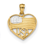 Polished American Flag & USA in Heart Pendant 14k Gold & Rhodium MPN: K6111