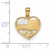 Polished American Flag & USA in Heart Pendant 14k Gold & Rhodium K6111