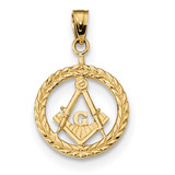 Masonic Symbol in Wreath Pendant 14k Gold MPN: K6116