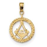 Masonic Symbol in Wreath Pendant 14k Gold MPN: K6116
