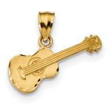 Acoustic Guitar Pendant 14k Gold Satin Diamond-cut MPN: K6131