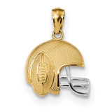 Satin & Polished Football on Helmet Pendant 14k Gold & Rhodium MPN: K6145