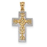 Polished Filigree Cross Pendant 14k White Gold & Rhodium MPN: K6170
