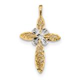 Polished Filigree Cross Pendant 14k White Gold & Rhodium MPN: K6173
