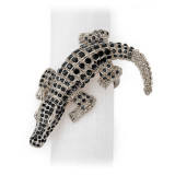 L'Objet Crocodile Napkin Rings Platinum Black Crystals Napkin Rings MPN: NJ4500