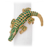 L'Objet Crocodile Napkin Rings Gold Green Crystals Napkin Rings MPN: NJ4600