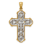 Reversible Diamond -cut Filigree Cross Pendant 14k Gold & Rhodium MPN: K6267