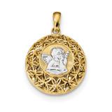 Polished Filigree Guardian Angel Pendant 14k Gold & Rhodium MPN: K6370