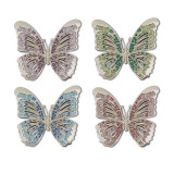 L'Objet Butterfly Napkin Rings Platinum Multi-Color Crystals Napkin Rings MPN: NJ9900