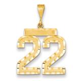 Number 22 Charm 14k Gold Large Diamond-cut MPN: LN22 UPC: 883957122137