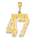 Number 47 Charm 14k Gold Large Diamond-cut MPN: LN47 UPC: 883957122380