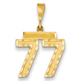 Number 77 Charm 14k Gold Medium Diamond-cut  MPN: MN77