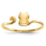 Cat Adjustable Cuff Ring 14k Gold Polished MPN: R639