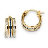 Blue/Clear CZ 7.50mm Triple Hoop Earrings 14k Gold MPN: TC968