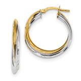 Polished Double Hoops Earrings 14K Two Tone Gold MPN: TF1194