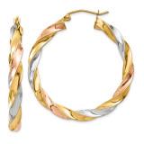 Light Twisted Hoop Earrings 14k Tri-Color Gold MPN: TF655 UPC: 191101454936