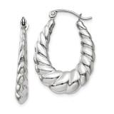 Polished and Textured Oval Hoop Earrings 14k white Gold MPN: TH793 UPC: 191101367151
