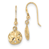 Satin Diamond -cut Sand Dollar Shepherd Hook Earrings 14k Gold Polished MPN: TL1122