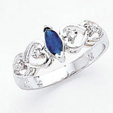 Sapphire Diamond Ring 14k white Gold 6x3mm Marquise MPN: X9699S/A UPC: 883957575797