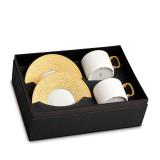 L'Objet Han Tea Cup Saucer Gift Box of 2  - Gold MPN: HN253
