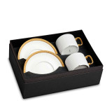 L'Objet Soie Tressee Tea Cup Saucer Gift Box of 2  - Gold MPN: ST253