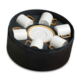 L'Objet Soie Tressee Espresso Cup Saucer Gift Box of 6  - Gold MPN: ST256