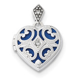 15mm Diamond Heart Locket 14k white Gold MPN: XL693