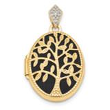Textured Diamond Black Fabric Oval Tree Locket 14k Gold Polished MPN: XL721