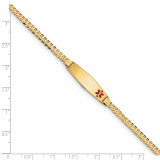 Medical Soft Diamond Shape Red Enamel Curb Link ID Bracecet 14k Gold XM554FC-7
