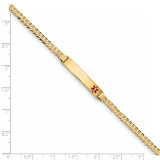 Medical Red Enamel Curb Link ID Bracecet 14k Gold XM554FR-7