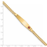 Medical Soft Diamond Shape Red Enamel Curb Link ID Bracecet 14k Gold XM567FC-8