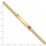 Medical Red Enamel Curb Link ID Bracecet 14k Gold XM567FR-7