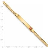 Medical Red Enamel Curb Link ID Bracecet 14k Gold XM567FR-8
