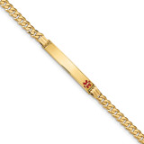 Medical Red Enamel Curb Link ID Bracecet 14k Gold MPN: XM568FR-7