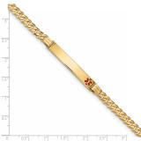 Medical Red Enamel Curb Link ID Bracecet 14k Gold XM568FR-7