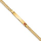 Medical Red Enamel Curb Link ID Bracecet 14k Gold MPN: XM568FR-8