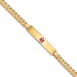 Medical Red Enamel Curb Link ID Bracecet 14k Gold MPN: XM574CR-7