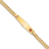 Medical Soft Diamond Shape Red Enamel Curb Link ID Bracecet 14k Gold MPN: XM574FC-7