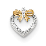 Diamond Heart with bow Chain Slide Pendant 14k Gold Polished MPN: XP4910AA